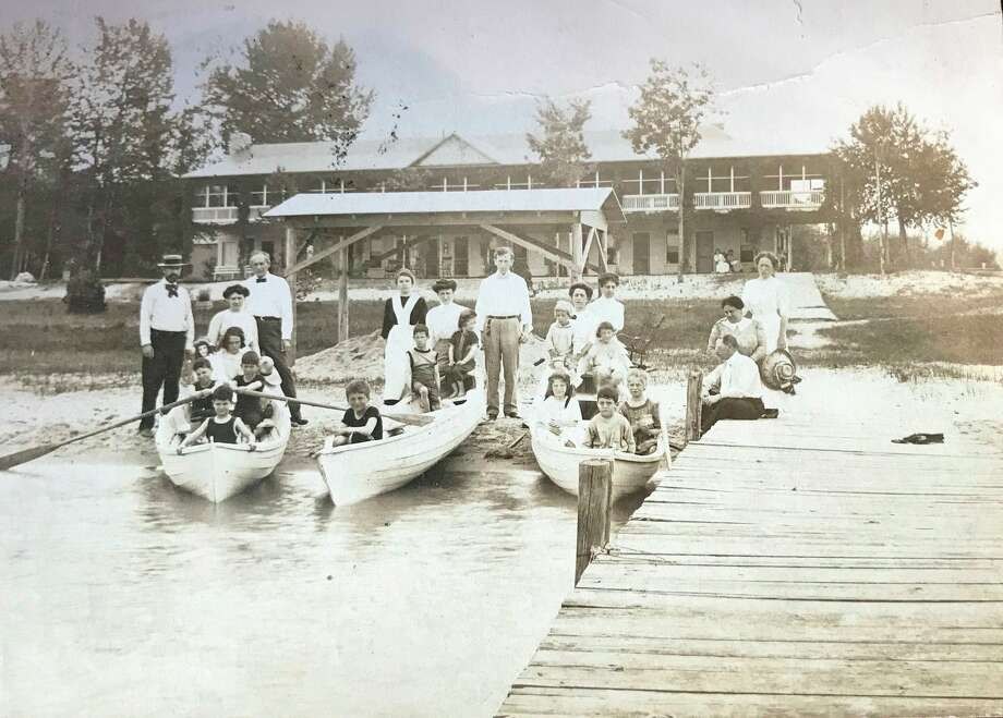 The Windemere Resort on the east end of Beulah on Crystal Lake about 1910. The Windemere functioned as a private summer resort club for Jewish families. (Courtesy Photo)