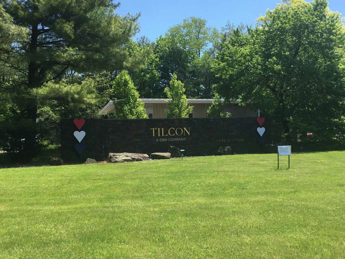 The sign for Tilcon at 1 Forest Road in North Branford May 21, 2020. The company has a quarry at the site.