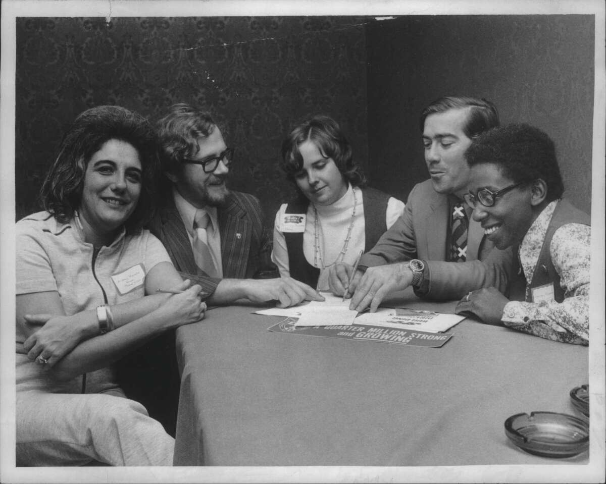 Schenectady Federation of Teachers meeting, Holiday Inn, Schenectady, New York - Audrey Revella, co-chairman of meeting; Harry Tryon, meeting chairman; Rosemary Bowman, federation representative; John Sole, negotiating chairman of union; Shirley Readdean, teacher's aide at Washington Irving Junior High School. October 2, 1972 (Times Union Archive)