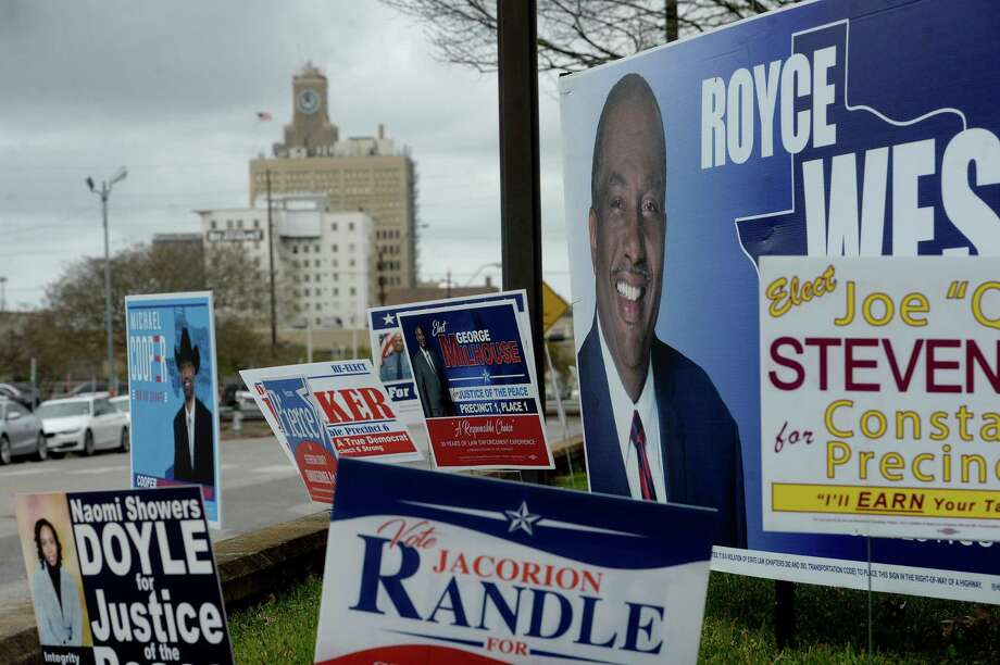 A sea of signs line the entry to the Jefferson County Courthouse as candidates in local races vie for votes. Primary race winners will be announced after polls close Tuesday night.  Photo taken Monday, March 2, 2020 Kim Brent/The Enterprise Photo: Kim Brent / The Enterprise / BEN