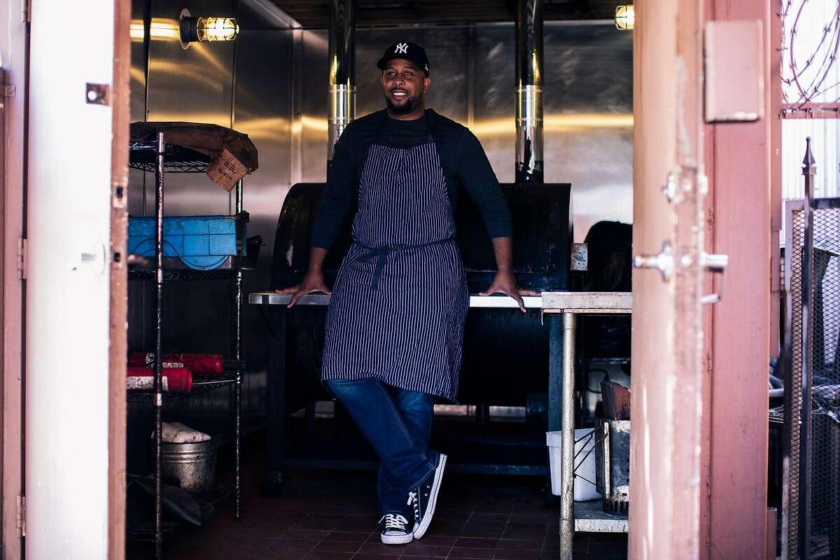 Chef Matt Horn of Horn BBQ poses for a portrait at the restaurant's soon to be open location in Emeryville, Calif. on Thursday, September 19, 2019.