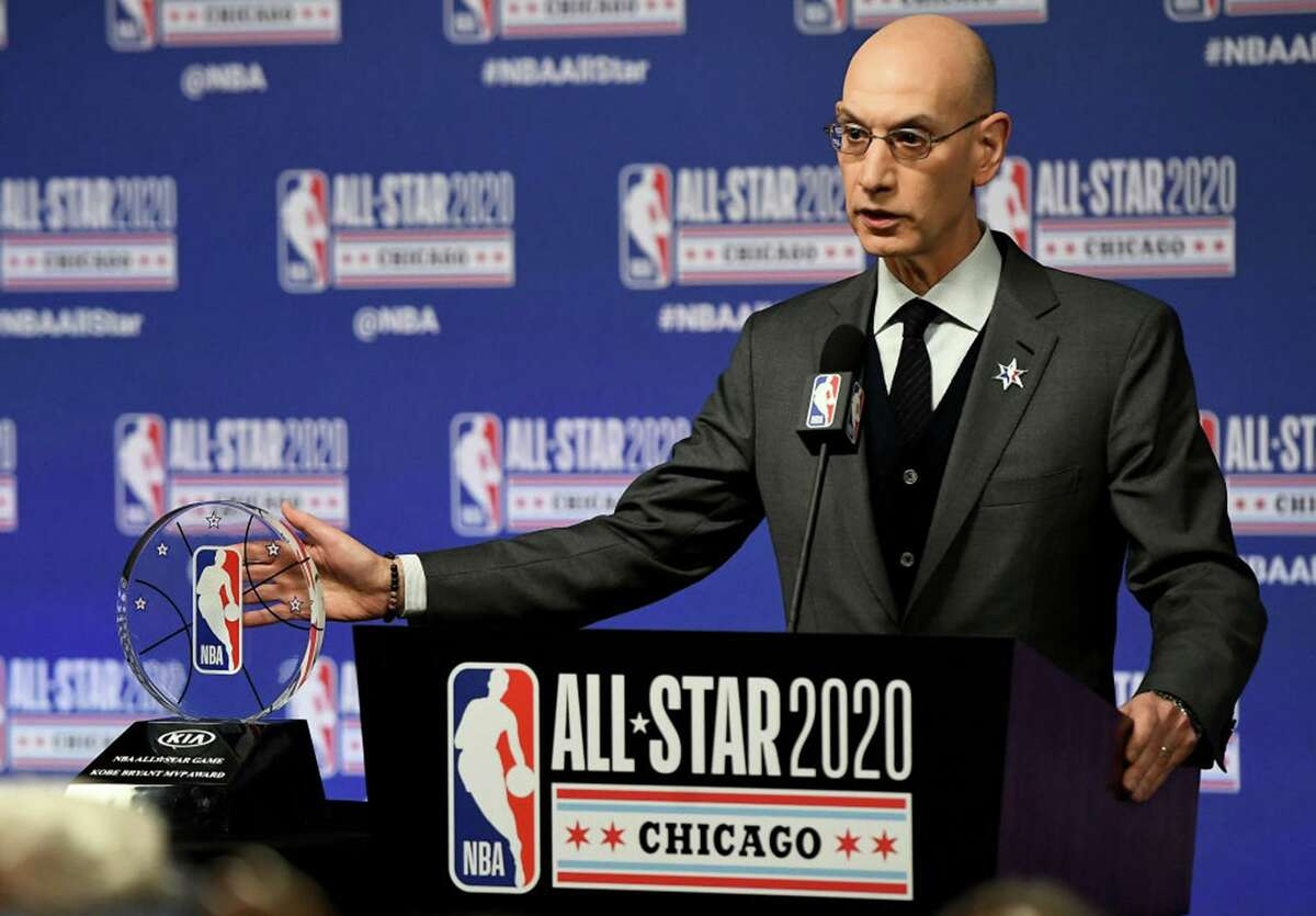 NBA Commissioner Adam Silver speaks to the media during a press conference at the United Center on February 15, 2020 in Chicago, Illinois. (Photo by Stacy Revere/Getty Images/TNS)
