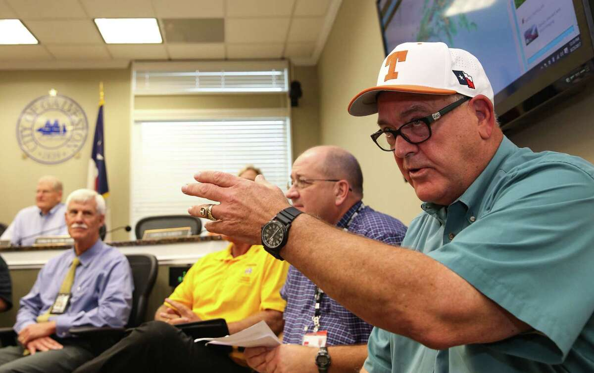 Galveston Mayor James D. Yarbrough, right, and city officials discuss storm preparedness and answer questions regarding Hurricane Harvey during a press conference at Galveston City Hall on Friday, August 25, 2017.