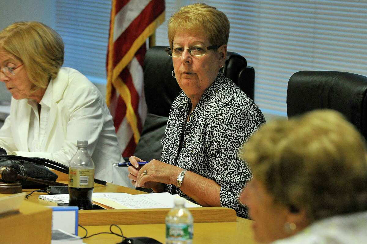 Board member Jackie Heftman looks on during a Board of Education meeting at the Stamford Government Center in Stamford on Tuesday, Aug. 25, 2015.