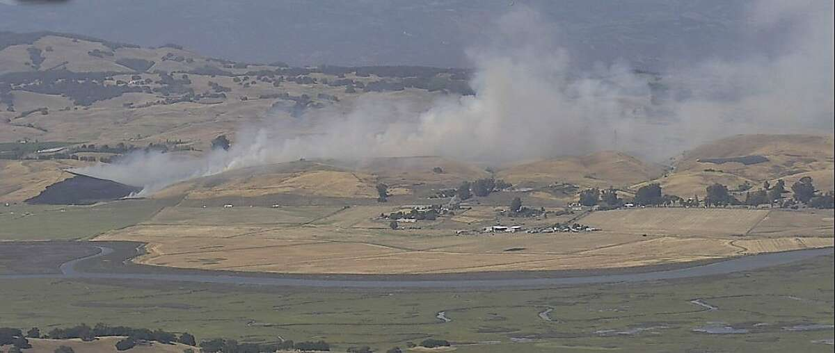 CALFIRE Sonoma-Lake-Napa Unit crews are on scene of a wildland fire in the 4500 block of Lakeville Hwy south of Petaluma in Sonoma County on Friday, June 5, 2020.
