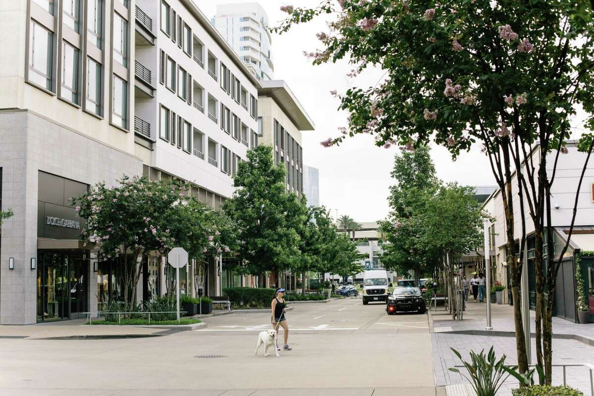 The River Oaks District features upscale shopping and restaurants. Several shops were boarded up last weekend as mostly peaceful protests took place miles away in downtown Houston.
