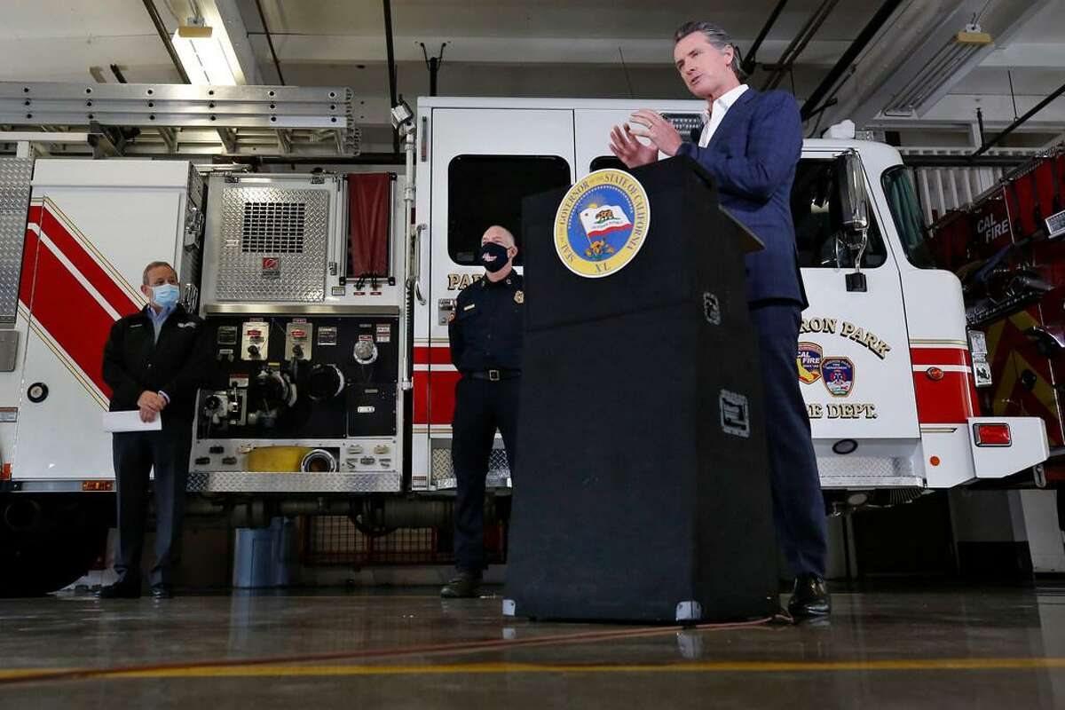Gov. Gavin Newsom discusses his revised state budget proposal at the CalFire/Cameron Park Fire Station in Cameron Park (El Dorado County).
