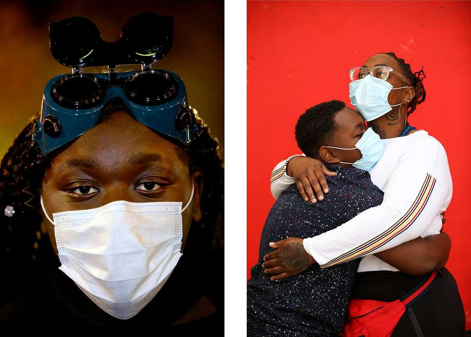 Left: Angel Robbson Right: Nee and her son, Semaje Williams. Photo: Yalonda M. James / The Chronicle