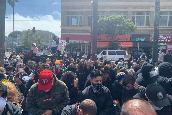 Hundreds gathered in the Mission District on June, 5, 2020, to protest police brutality in the wake of the killing of Sean Monterrosa, a 22-year-old San Francisco resident who was shot by Vallejo police as he kneeled outside a Walgreens that has been reportedly burglarized. Monterrosa was killed during a night of unrest sparked by the police killing in Minneapolis of George Floyd last week.