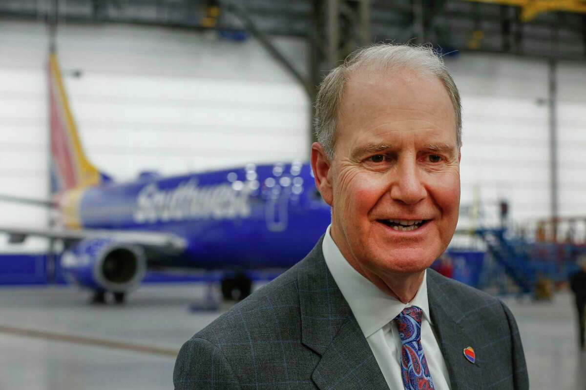 Gary Kelly, Southwest Airlines Chairman of the Board and CEO is interviewed in the Southwest Airlines opening of a $125 million, 140,000-square-foot, maintenance hangar at Hobby Airport Wednesday, Jan. 8, 2020, in Houston.
