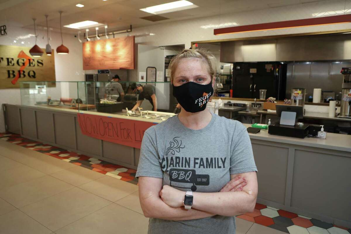 Feges BBQ co-owner Erin Smith Friday, June 5, 2020, in Houston. Feges BBQ was able to bring back its 10-person staff in May due to a loan from the paycheck protection program.