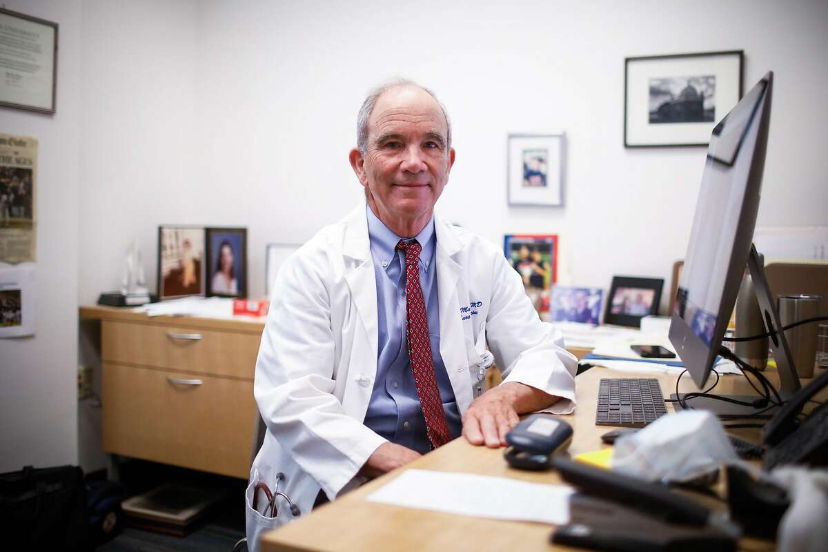 Dr. Michael Matthay sits for a portrait in his office at UCSF on Wednesday, June 3, 2020 in San Francisco, California. Dr. Matthay is running a clinical trial to see if a certain kind of stem cell can be used to treat patients with severe lung problems associated with COVID-19.
