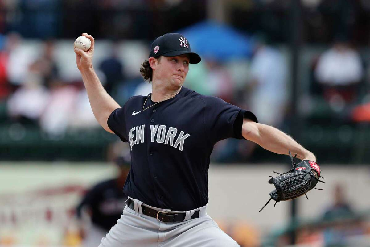 New York Yankees starting pitcher Gerrit Cole throws during a spring training baseball game against the Detroit Tigers, Thursday, March 5, 2020, in Lakeland, Fla. (AP Photo/Carlos Osorio)
