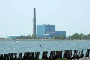 The now-defunct Manresa Island power plant in Norwalk, Conn. as seen from Calf Pasture Beach in 2016.