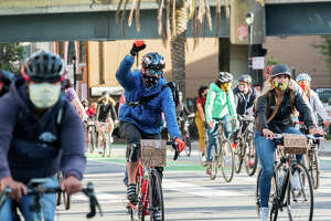 Up to a thousand people took park in the San Francisco Critical Mass bike protest against the death of George Floyd in San Francisco, California on June 5, 2020.