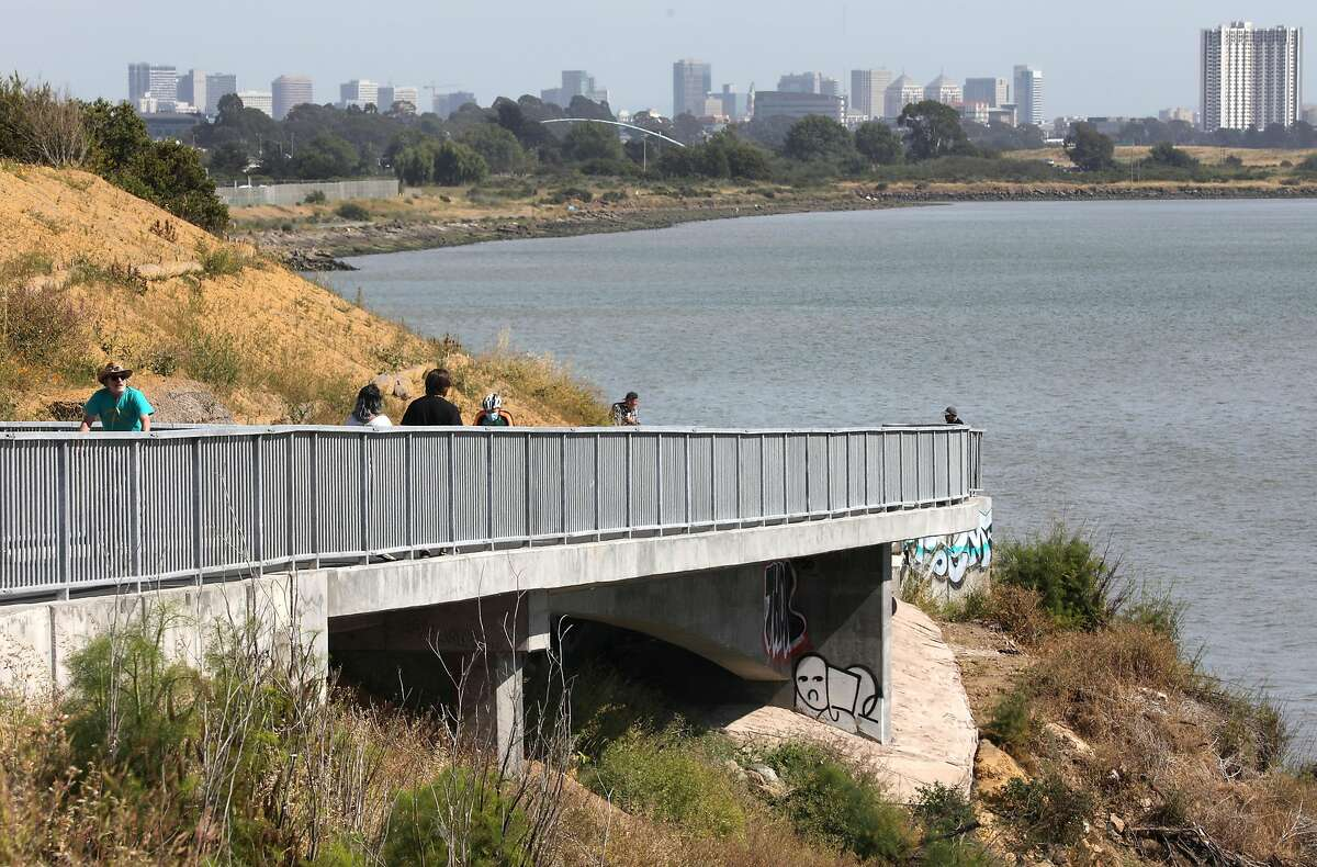 View of he bluff of the new extension on the San Francisco Bay Trail seen on Tuesday, June 2, 2020, in Albany, Calif. The new extension carves into a bluff below Golden Gate Fields facing the bay.