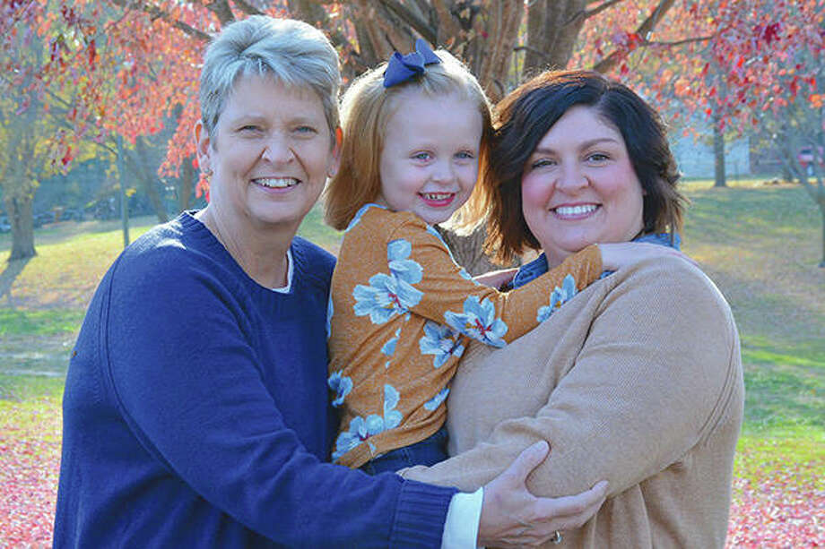 Denise Hickox (left) of Jacksonville — seen with her daughter, Brittni Pierson, and granddaughter, Brystol Pierson, both of Jacksonville — underwent a kidney transplant March 23 at Memorial Medical Center. Photo: Courtesy Of Brittni Pierson