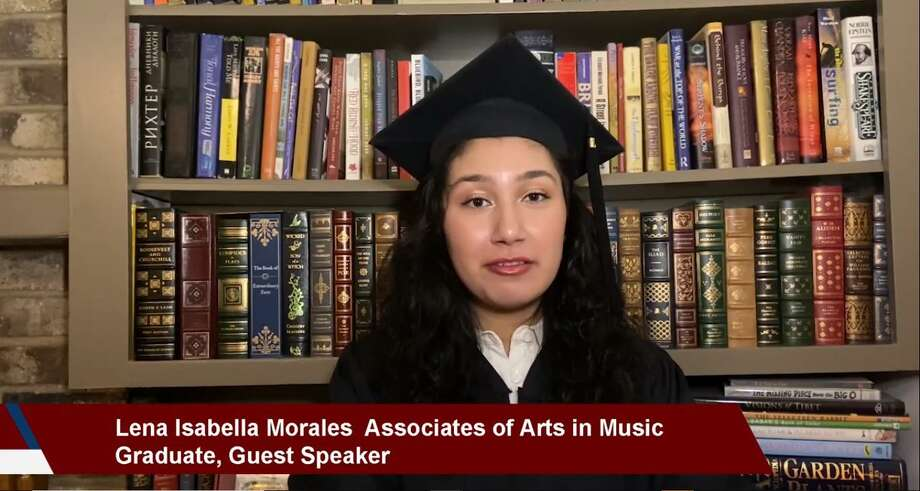 Lone Star College recognized students with virtual graduation tributes to celebrate its seven campuses awarding a total of 8,863 associate degrees and certifications for spring 2020, according to a June 2 press release. Lena Isabella Morales, Associates of Arts in Music graduate was a student speaker for LSC-Montgomery. Photo: Photo Courtesy Of Lone Star College