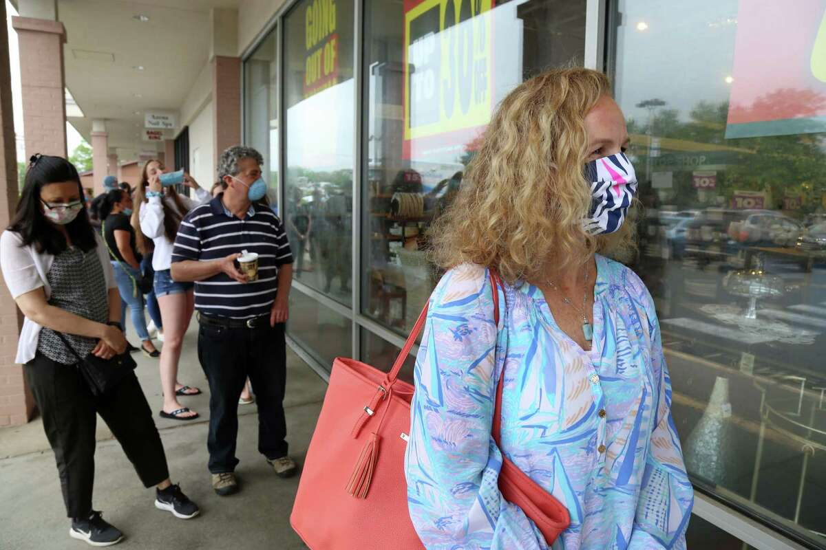 Amy Hester traveled from her home in Bedford, N.Y., to be at the start of the close-out sale for Pier 1 Imports on Friday, June 5, 2020, in Fairfield, Conn.