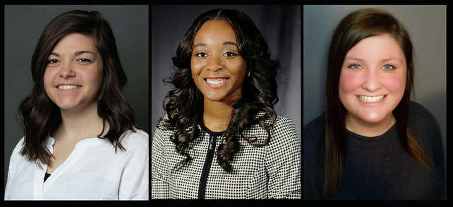 SIUE College Student Personnel Administration graduates completing remote summer internships include, from left, Kayla Ward, Telayah Richards and Shelby Ireland.
