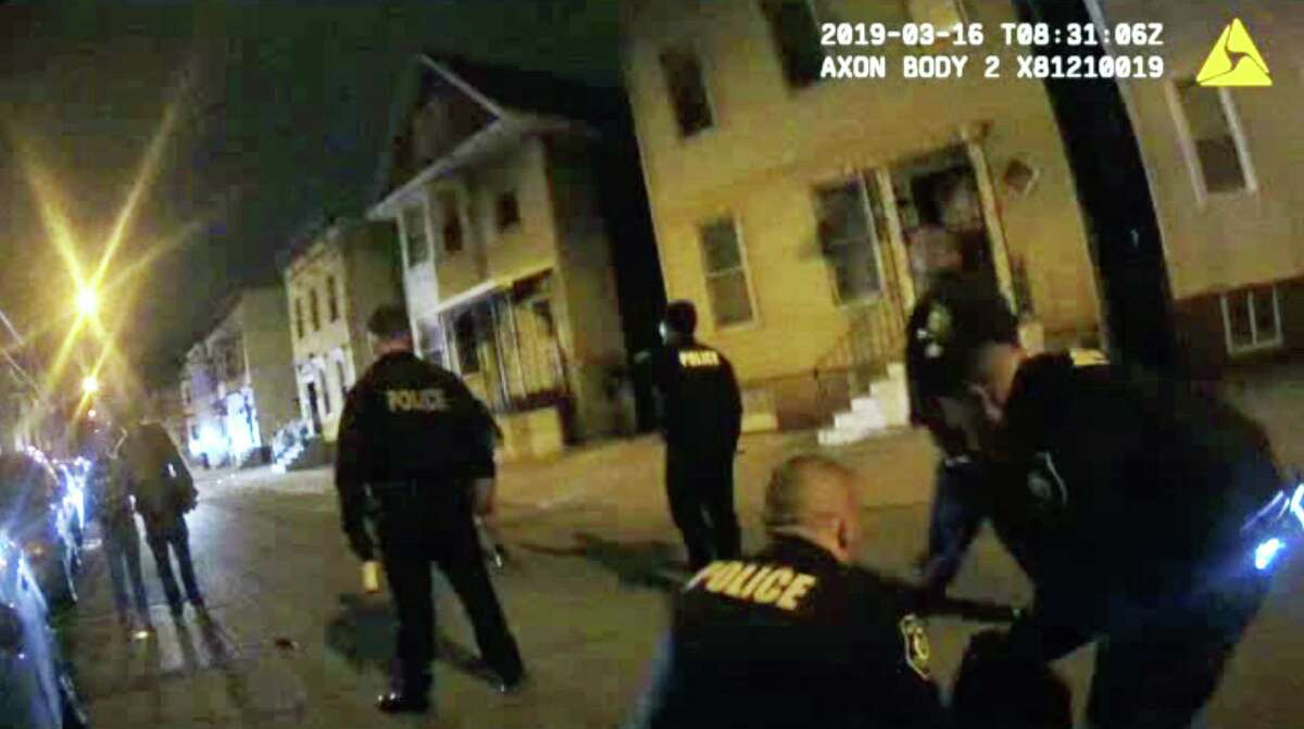 Police body camera footage shows Albany police officers during a March 16, 2019, altercation on First Street. (Albany Police Department)