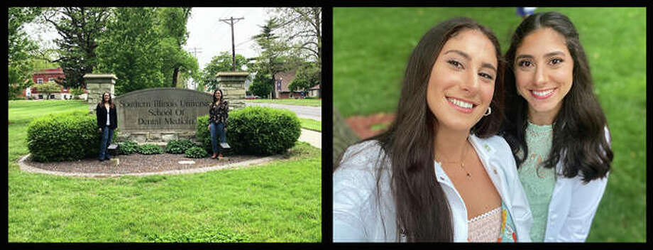 Two sets of siblings earned degrees this spring from Southern Illinois University School of Dental Medicine in Alton. At left are graduates and twins Roxanne and Shawna Dudovitz. At right are graduates and sisters Maya and Tara Habibi.