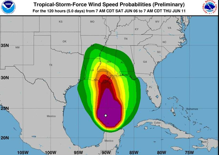 Tropical Storm Cristobal is expected to strengthen as it pushes northward through the Gulf of Mexico this weekend, according to the National Hurricane Center. Forecasters expect that the storm will make landfall along the south central Louisiana coast later Sunday. Photo: NOAA
