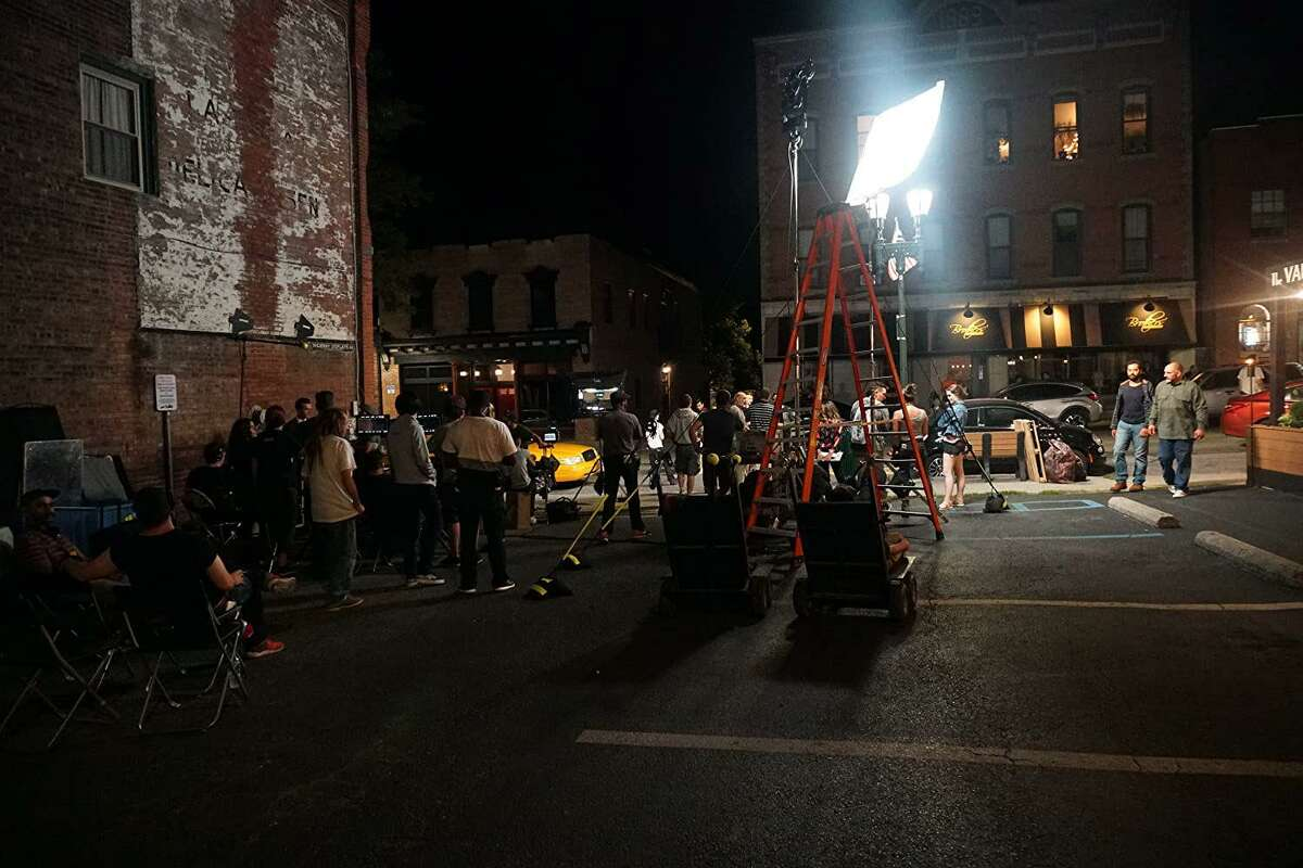 """Behind the scenes at """"Big Dogs,"""" when it was under production in New York state."""
