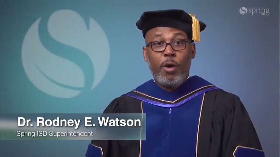 Spring ISD Spring ISD Superintendent Rodney Watson congratulates graduates during Spring ISD's virtual graduations. Photo: Courtesy Of Spring ISD