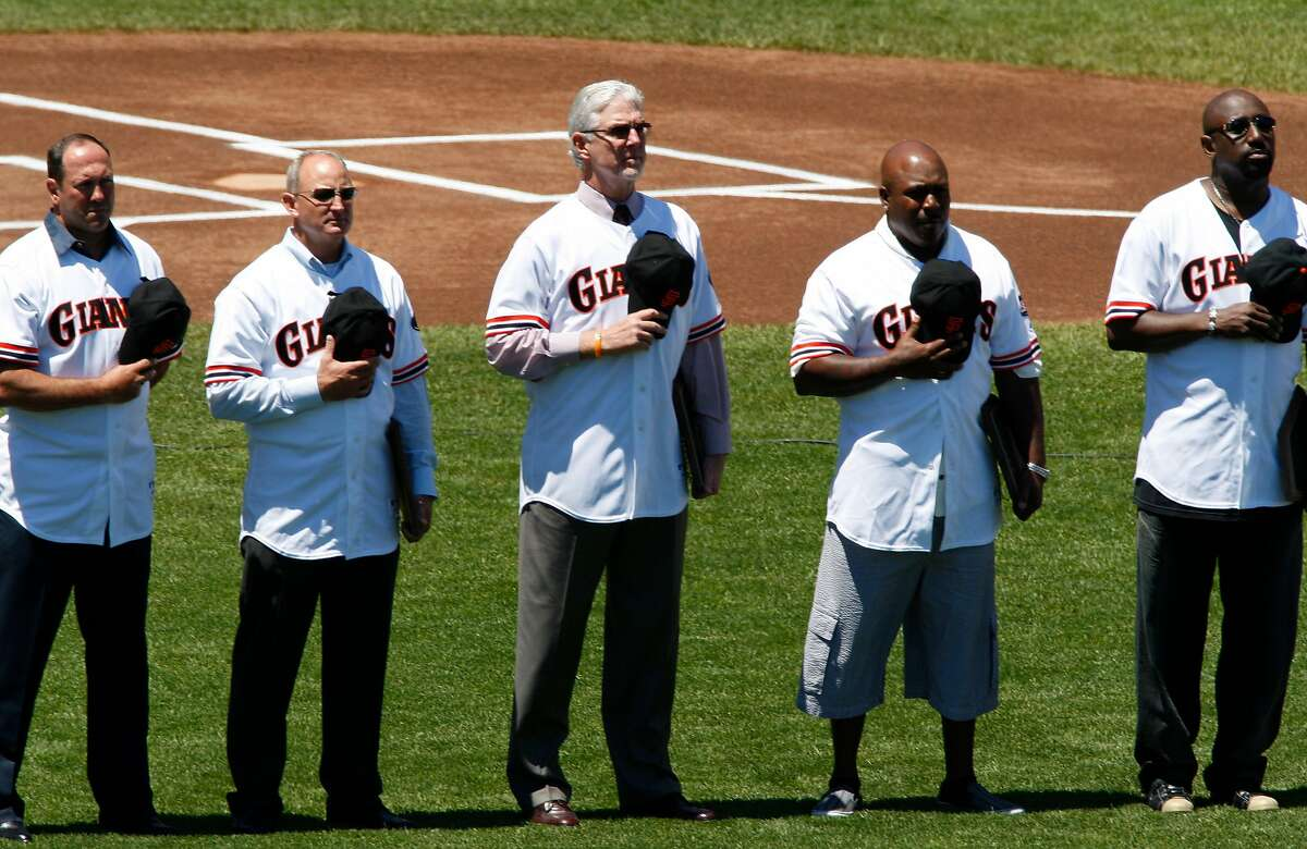 giants_062_mac.jpg l to r- Will Clark, Robby Thompson, Mike Krukow, Kevin Mitchell,Jeffrey Leonard.Reunion day of the 1987 Giants team. San Francisco Giants vs. Florida Marlins. The San Francisco Giant Barry Bonds is just 1 home run away from a tie with the all time home run record set by Hank Aaron at 755. Photographed in, San Francisco, Ca, on 7/29/07. Photo by: Michael Macor/ The Chronicle