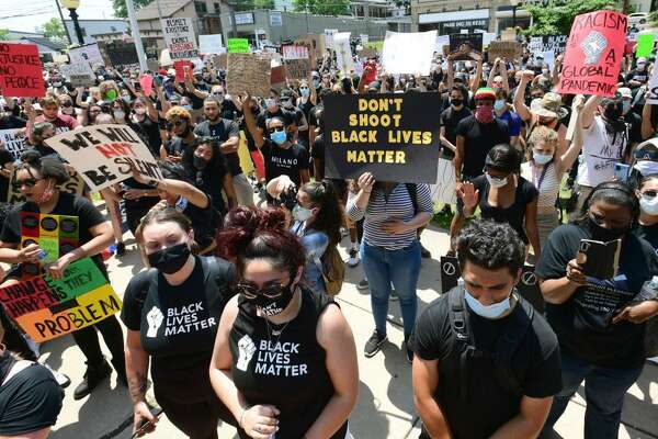 Protesters marched against police brutality and racism in Danbury, Conn., on Saturday, June 6, 2020.
