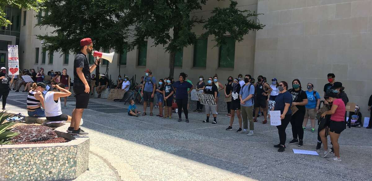 San Antonio residents gathered downtown Saturday afternoon, June 6, 2020, for an eighth day of protests over the death of George Floyd.