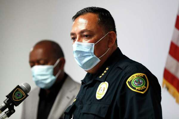 Houston Mayor Sylvester Turner and Police Chief Art Acevedo speak to the media after they were joined by the family members of loved ones involved in recent officer-involved shooting incidents, to discuss not releasing body cam videos of the incidents during a press conference at HPD's Edward A. Thomas Building, Saturday, June 6, 2020, in Houston.