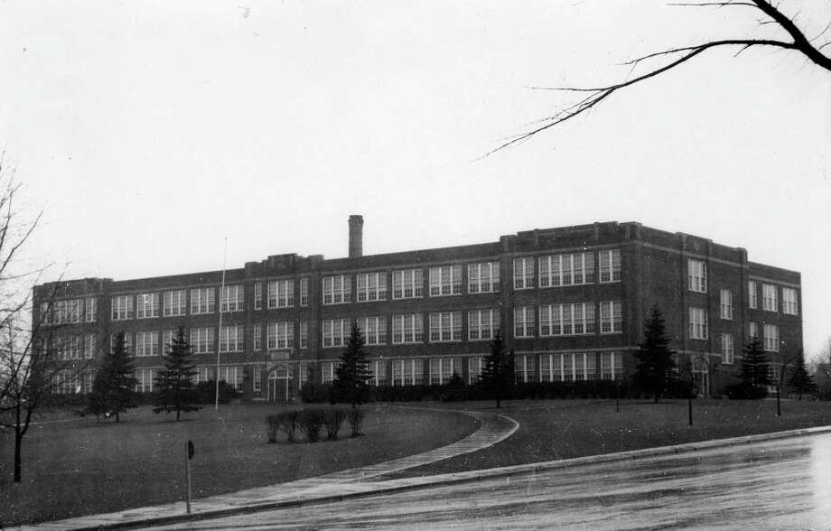 The new Manistee High School building is shown in this 1930 photograph.