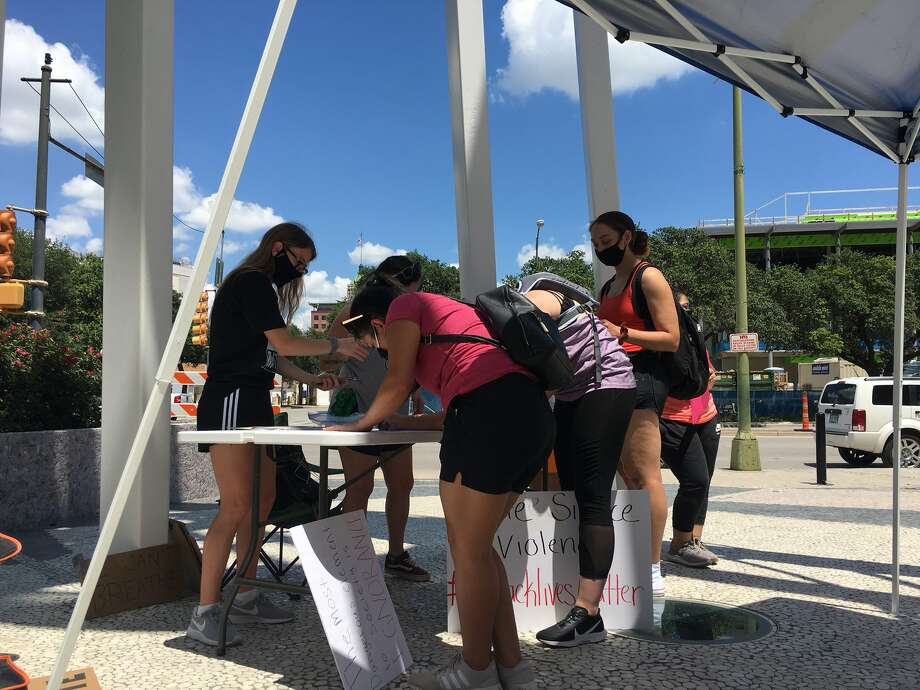 San Antonio residents gathered downtown Saturday afternoon, June 6, 2020, for a eighth day of protests over the death of George Floyd.