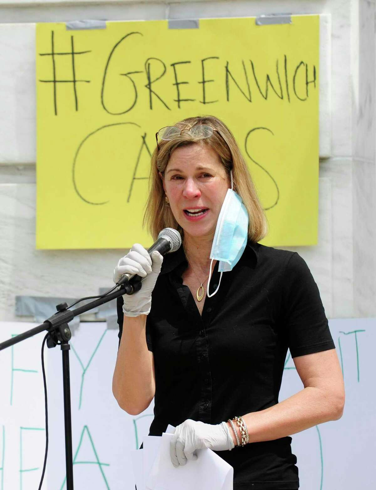 Joanna Swomley addresses more than 600 protesters who gathered in front of Greenwich Town Hail on June 6, 2020 to rally and call for police reform in the wake of the death of George Floyd.