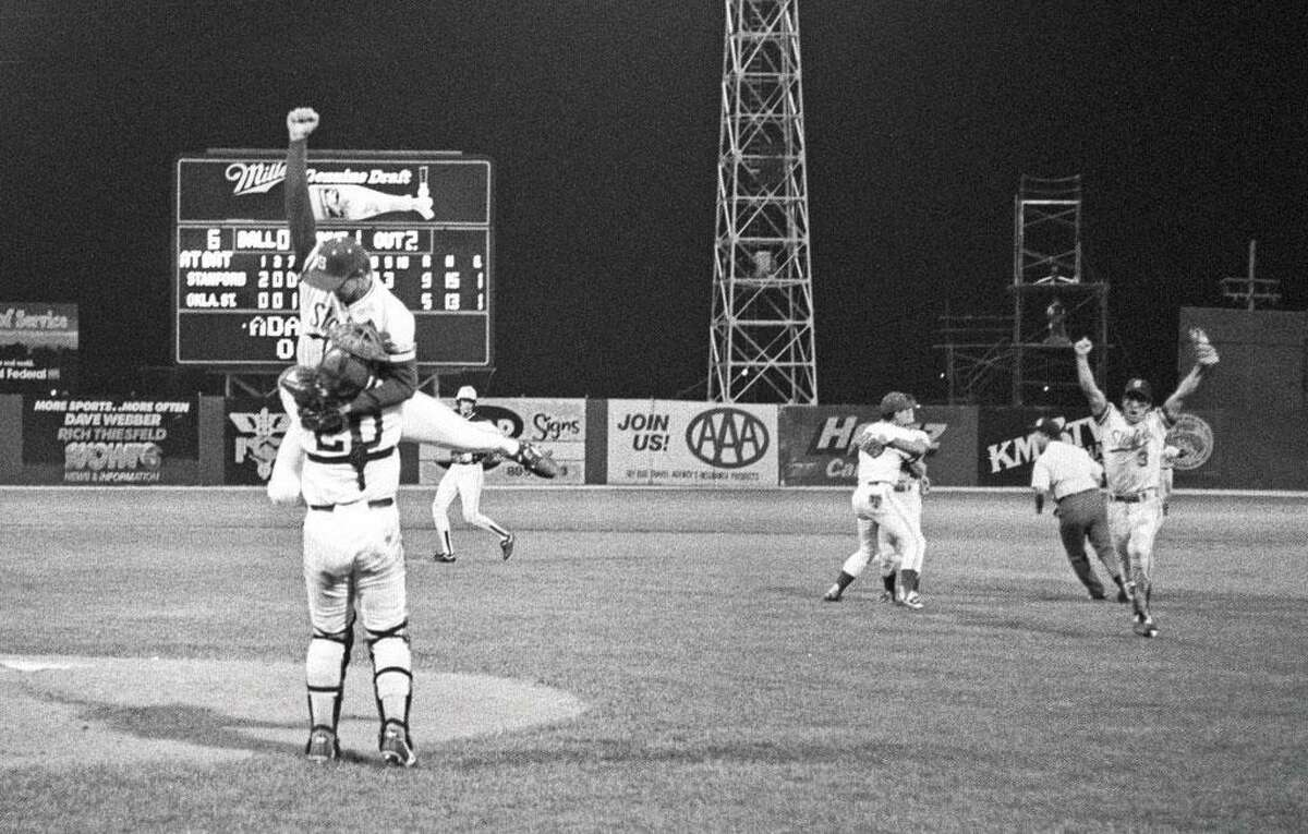Stanford players celebrate beating Oklahoma State to win the 1987 College World Series title.