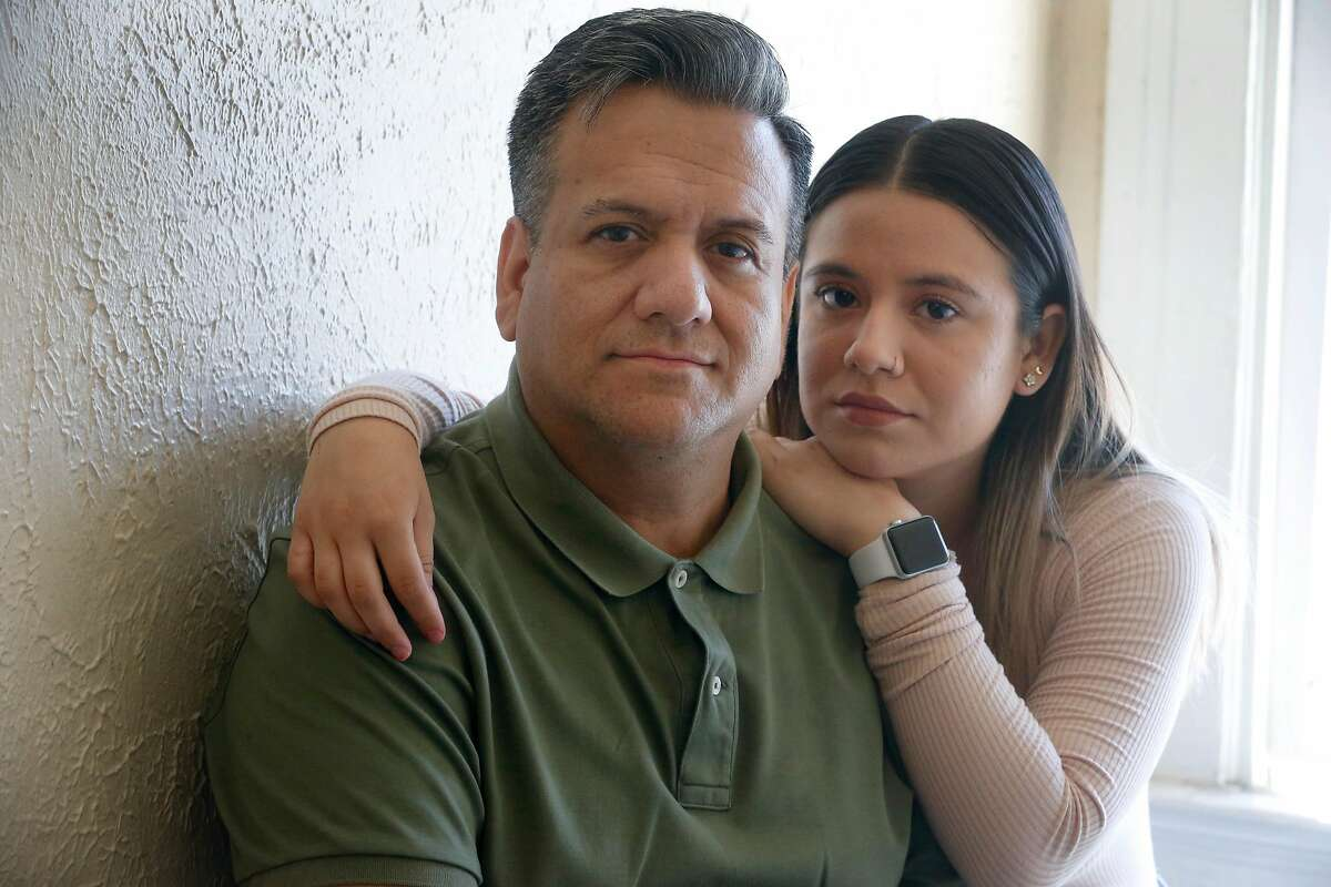 Samuel Ramirez and daughter Jenny are seen at home in San Francisco, Calif. on Saturday, June 6, 2020. The Ramirez family is concerned with being evicted from their Mission District apartment as Samuel struggles to find work as a cook during the coronavirus pandemic.