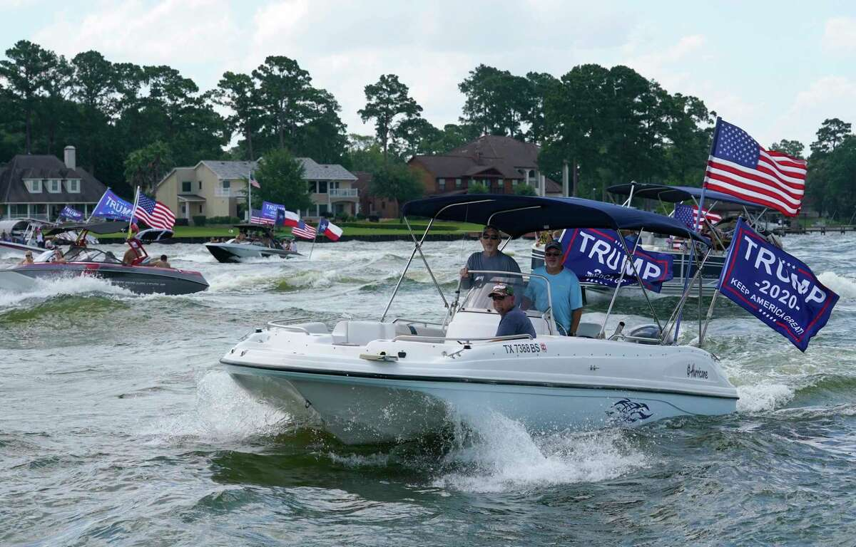 Boaters participate in the Trump Boat Parade on Lake Conroe Saturday, June 6, 2020, in Conroe.