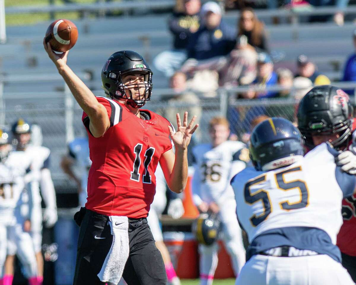 RPI quarterback George Marinopoulos makes a pass during a game against the University of Rochester at the RPI East Campus Stadium on Saturday, Oct. 5, 2019 (Jim Franco/Special to the Times Union.)