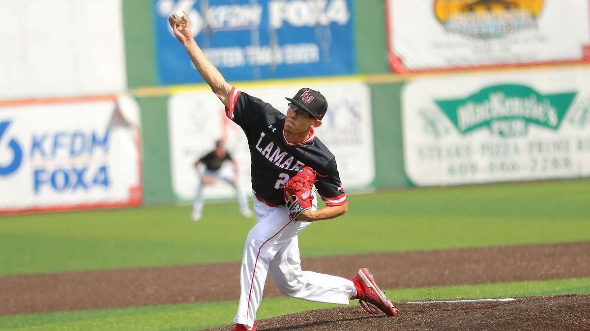 Zach Bravo pitches during a game for Lamar University. Photo from LU athletics.