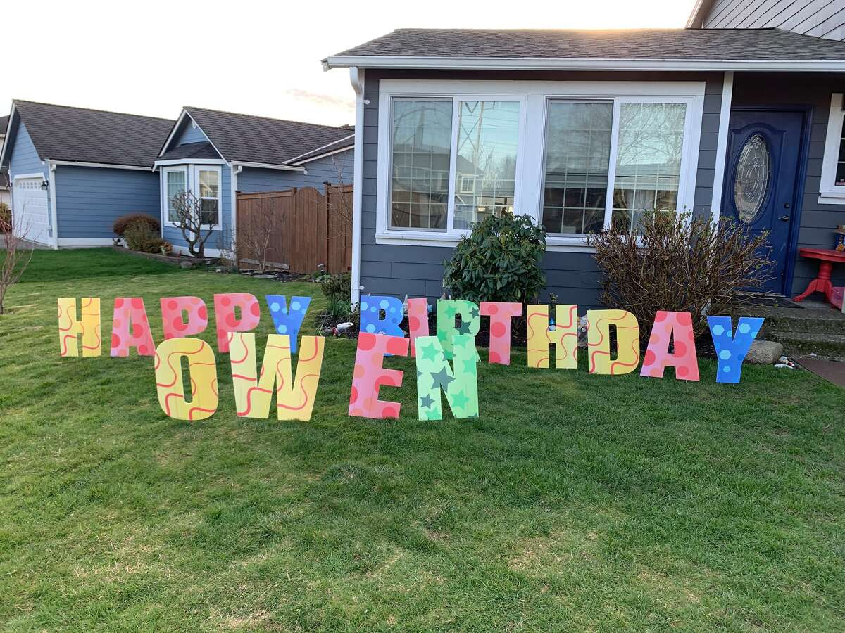 Aside from birthday car parades, some have been finding other ways to celebrate birthdays. Katlyn Stevens of Kirkland has been putting giant lawn letters in friends, family and her neighbors' yards for their birthdays.