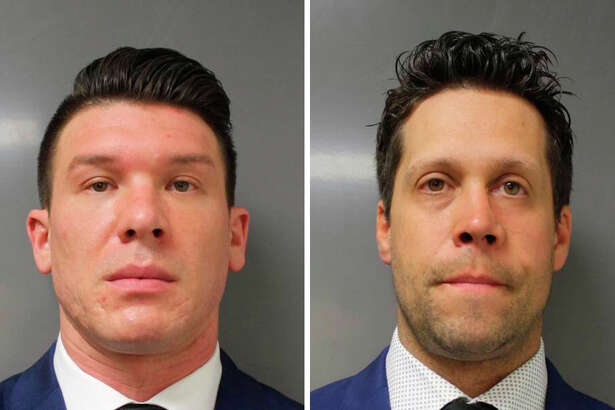 In department photos, Buffalo Police Department officers Robert McCabe, left, and Aaron Torglaski, who each pleaded guilty to one count of second degree assault on June 6, 2020. The two were suspended without pay for pushing a 75-year-old man who was protesting outside City Hall, a move that outraged rank and file officers. (Buffalo Police Department via The New York Times) -- FOR EDITORIAL USE ONLY --