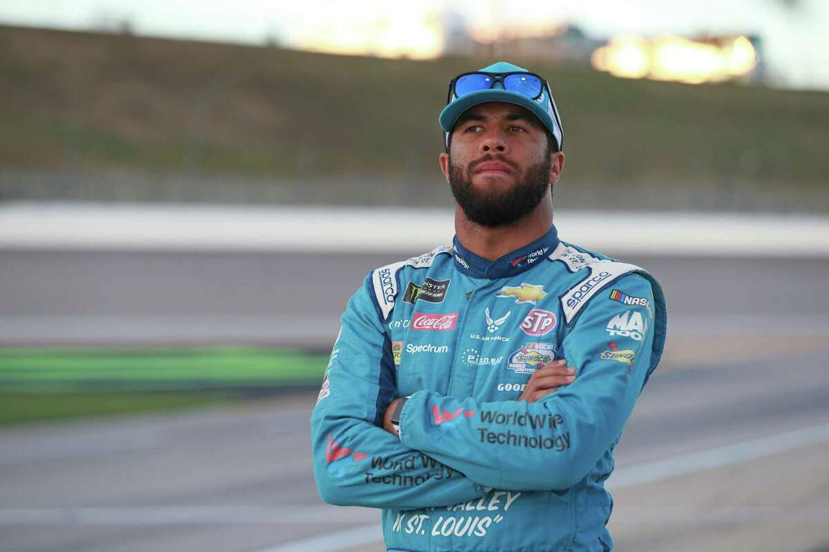 KANSAS CITY, KS - OCTOBER 19: Bubba Wallace, driver of the #43 Transportation Impact Chevrolet, watches qualifying for the Monster Energy NASCAR Cup Series Hollywood Casino 400 at Kansas Speedway on October 19, 2018 in Kansas City, Kansas. (Photo by Matt Sullivan/Getty Images)