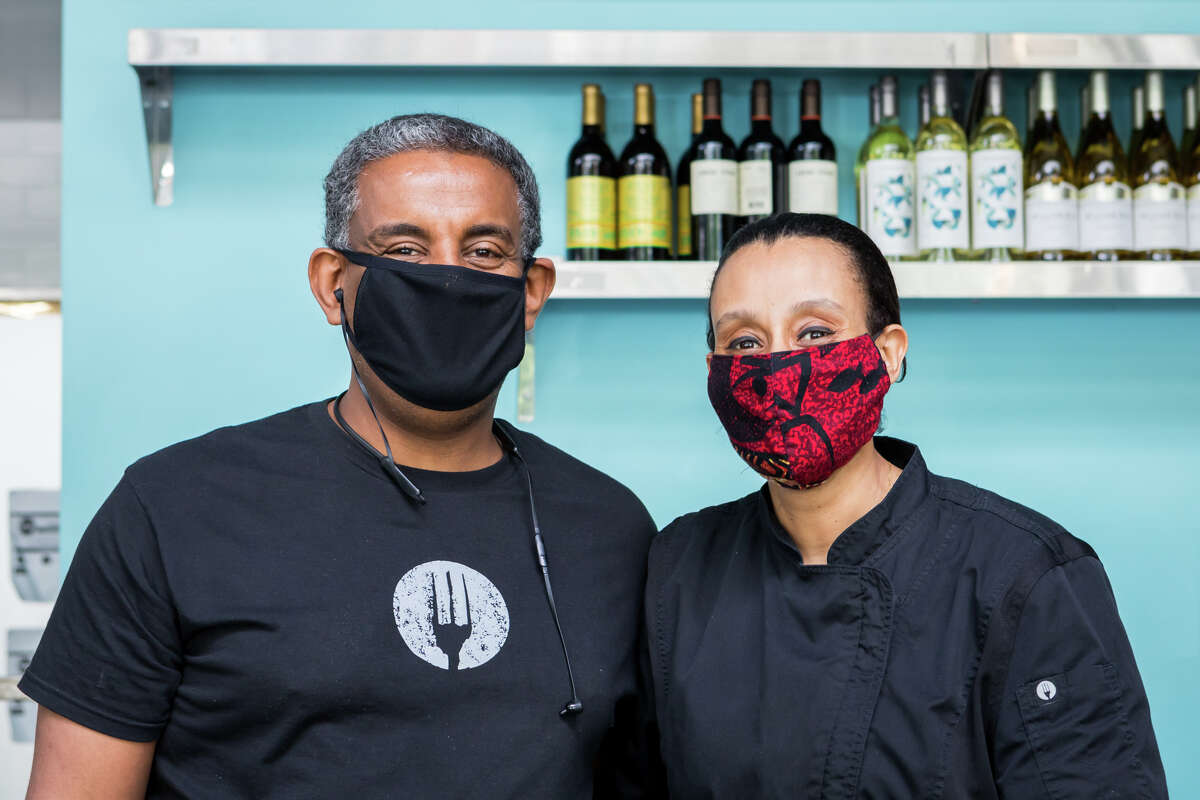 Tsegaye (pictured right) said business is up 200% at their two small Ethiopian restaurants and their 10 employees whose hours were reduced to part-time after the shelter-in-place order was issued in mid-March are now all working full-time.