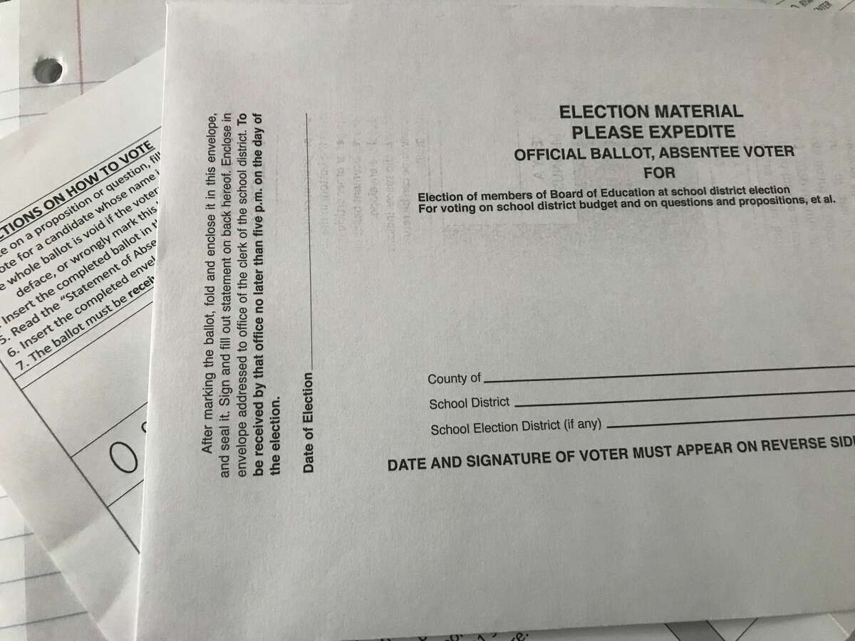 An absentee ballot for school elections in New York for June 9, 2020.