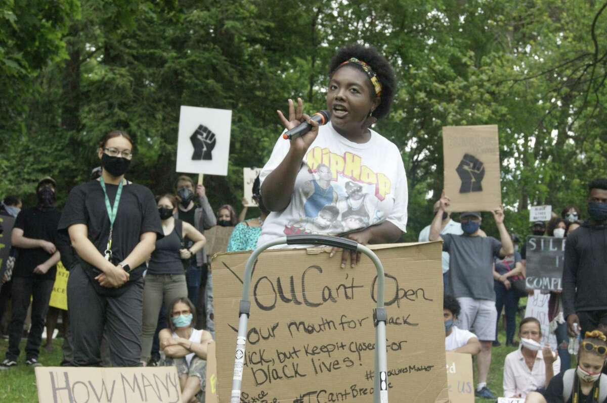 Chandler Hickenbottom, of Saratoga Springs, addressed the crowd gathered in Saratoga Springs for a Black Lives Matter protest. She spoke about civil disobedience to two classes at Saratoga Springs High School. (David Lombardo / The Capitol Pressroom)