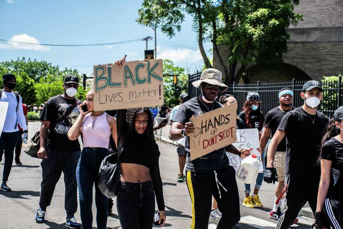 Protestors gather in Bridgeport on May 30.