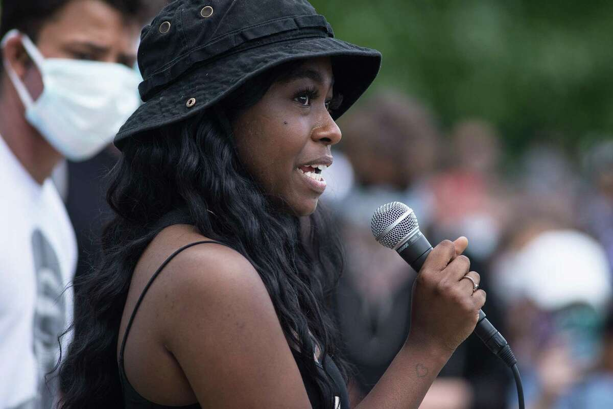 Tatianna Concannon speaking. Hundreds gathered in Darien Sunday afternoon for a Black Lives Matter protest which featured predominantly young people's voices.