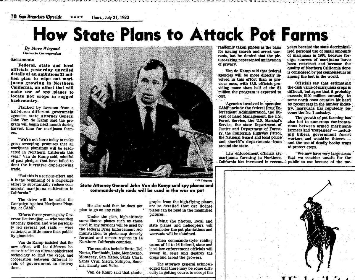 Chronicle article on the Campaign Against Marijuana Production (CAMP) is a program to stop the growing of marijuana for sale in California